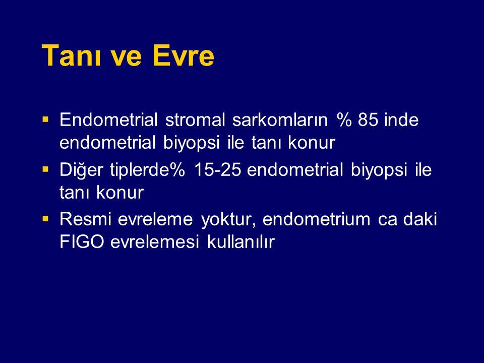 Tanı ve Evre Endometrial stromal sarkomların % 85 inde endometrial biyopsi ile tanı konur. Diğer tiplerde% 15-25 endometrial biyopsi ile tanı konur.
