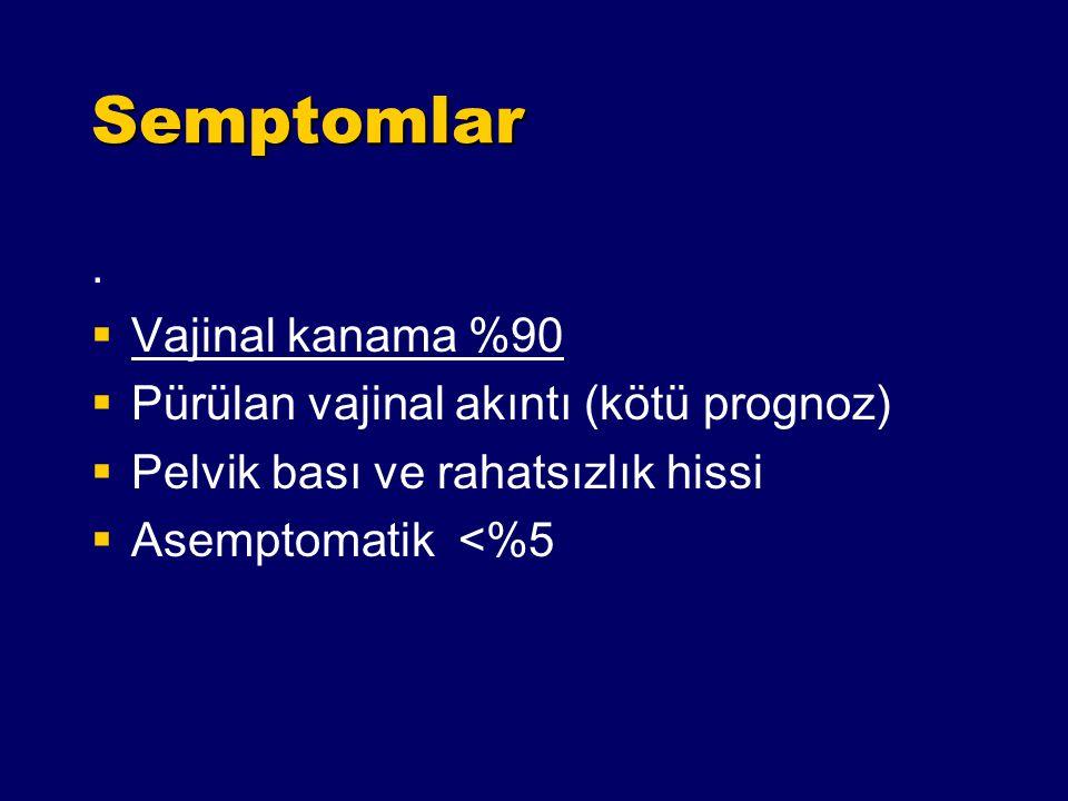 Semptomlar . Vajinal kanama %90 Pürülan vajinal akıntı (kötü prognoz)