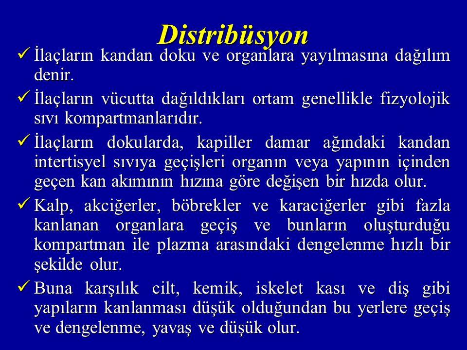 Distribüsyon İlaçların kandan doku ve organlara yayılmasına dağılım denir.