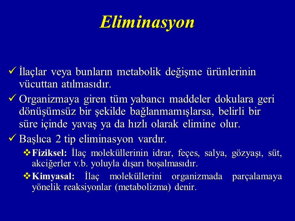 Eliminasyon İlaçlar veya bunların metabolik değişme ürünlerinin vücuttan atılmasıdır.