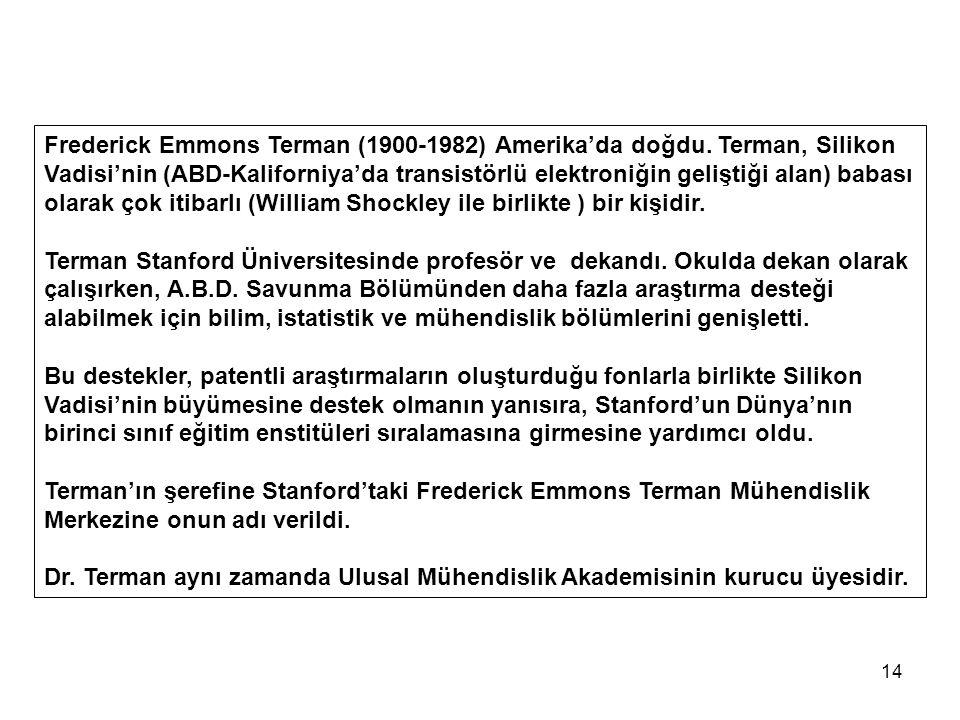 Frederick Emmons Terman (1900-1982) Amerika'da doğdu