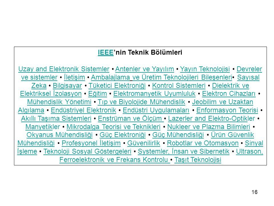 IEEE'nin Teknik Bölümleri