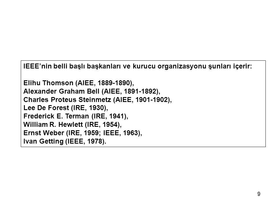 IEEE'nin belli başlı başkanları ve kurucu organizasyonu şunları içerir: