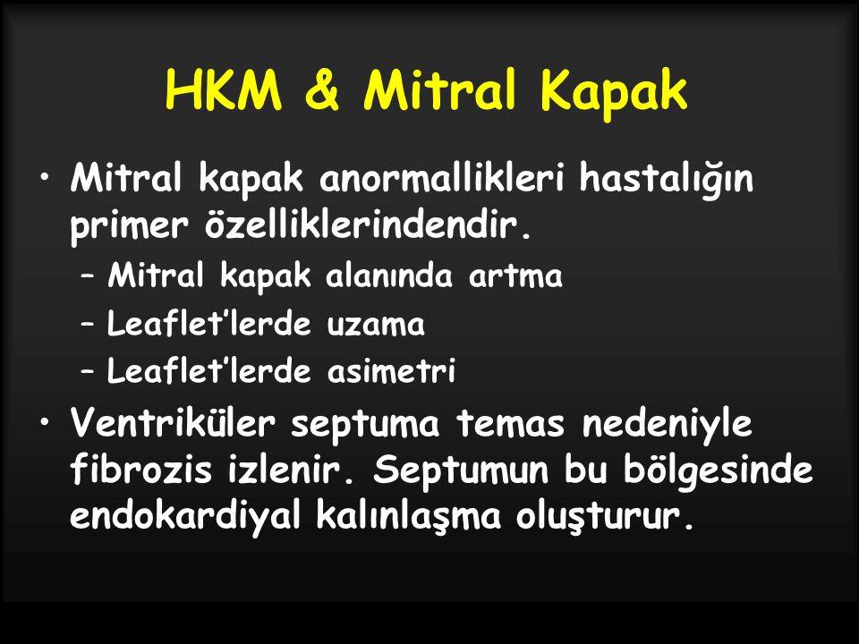 HKM & Mitral Kapak Mitral kapak anormallikleri hastalığın primer özelliklerindendir. Mitral kapak alanında artma.