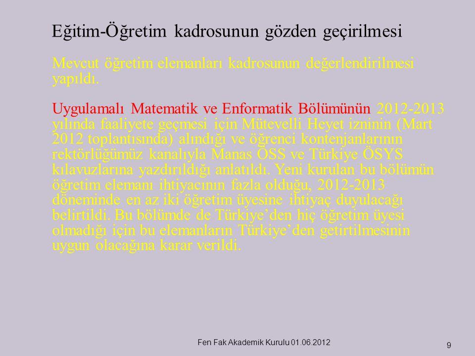 Fen Fak Akademik Kurulu 01.06.2012