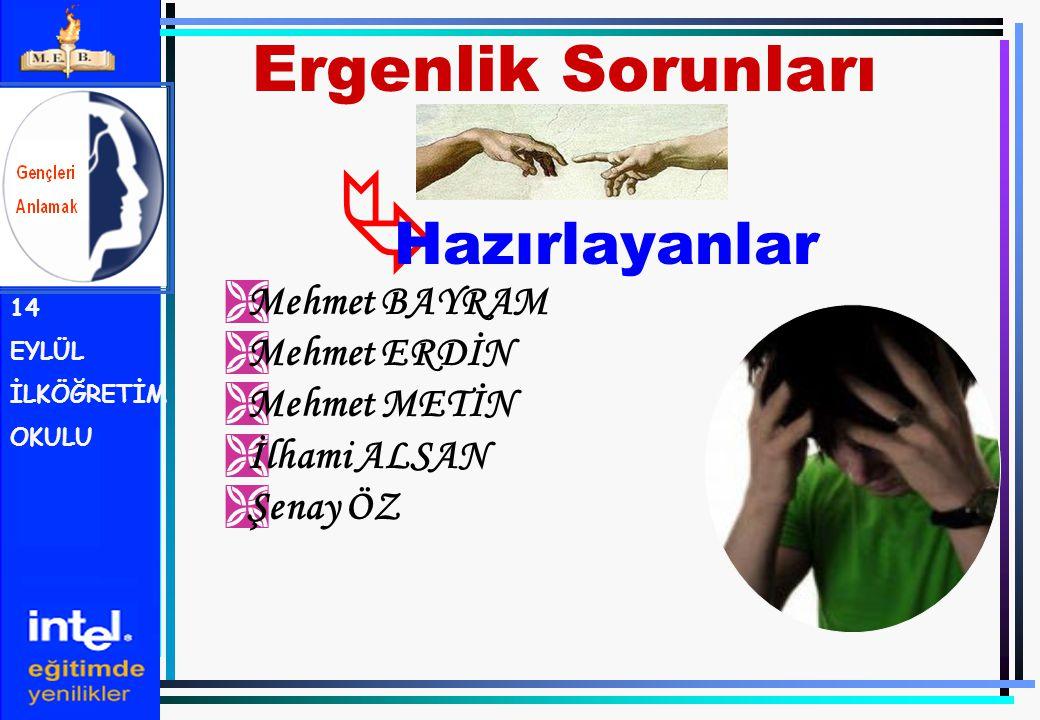 Ergenlik Sorunları Hazırlayanlar Mehmet BAYRAM Mehmet ERDİN
