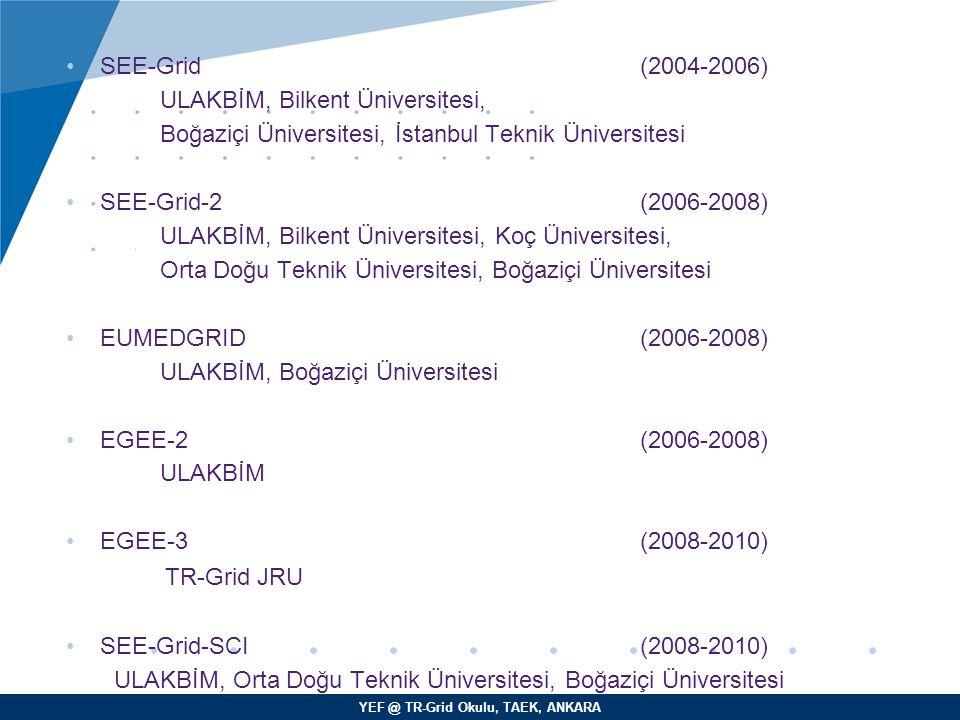 SEE-Grid (2004-2006) ULAKBİM, Bilkent Üniversitesi, Boğaziçi Üniversitesi, İstanbul Teknik Üniversitesi.