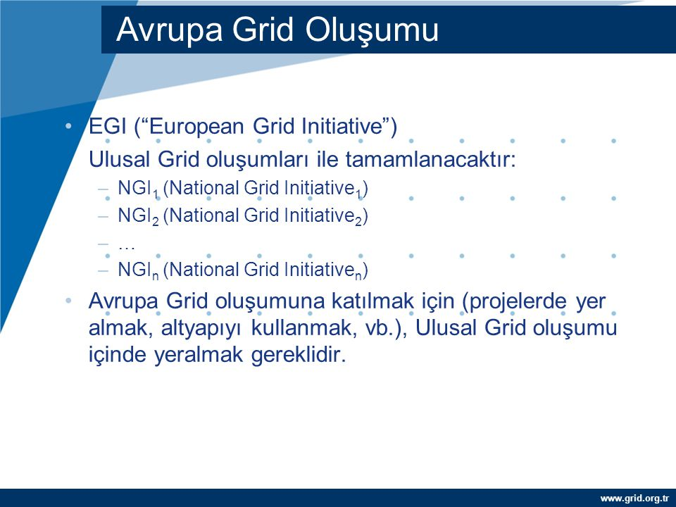 Avrupa Grid Oluşumu EGI ( European Grid Initiative )‏
