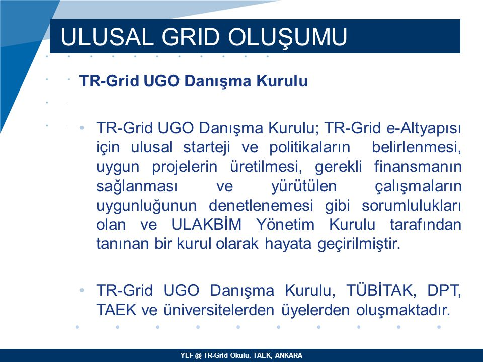 ULUSAL GRID OLUŞUMU TR-Grid UGO Danışma Kurulu