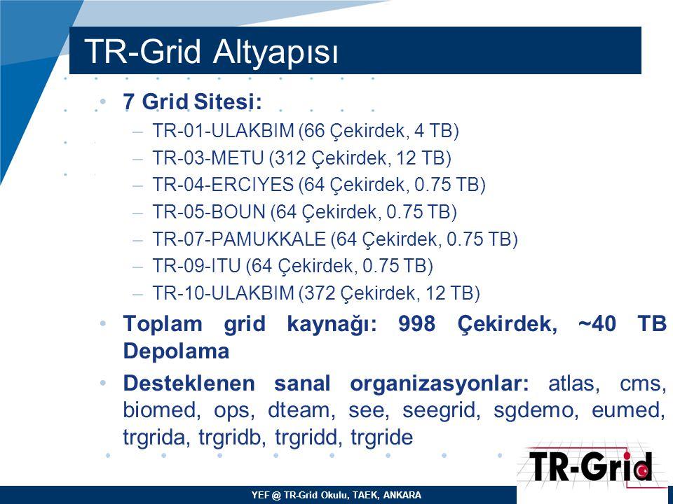TR-Grid Altyapısı 7 Grid Sitesi: