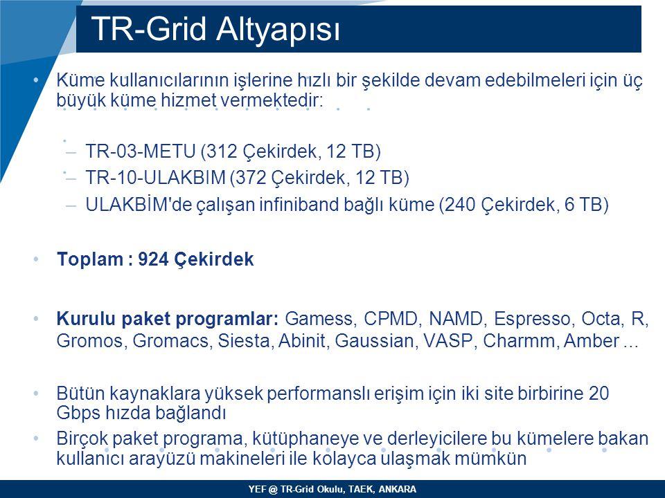 TR-Grid Altyapısı Küme kullanıcılarının işlerine hızlı bir şekilde devam edebilmeleri için üç büyük küme hizmet vermektedir: