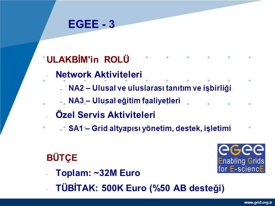 EGEE - 3 ULAKBİM in ROLÜ Network Aktiviteleri Özel Servis Aktiviteleri