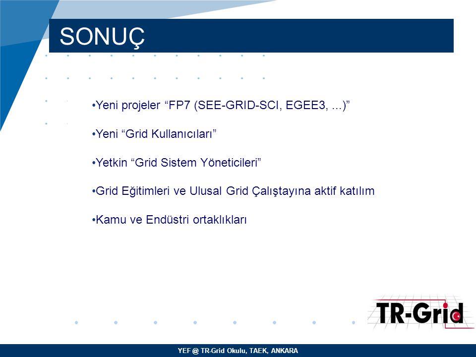 SONUÇ Yeni projeler FP7 (SEE-GRID-SCI, EGEE3, ...)