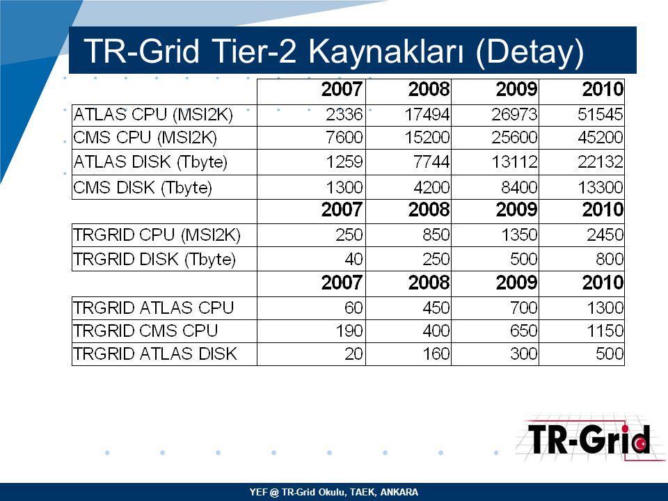 TR-Grid Tier-2 Kaynakları (Detay)