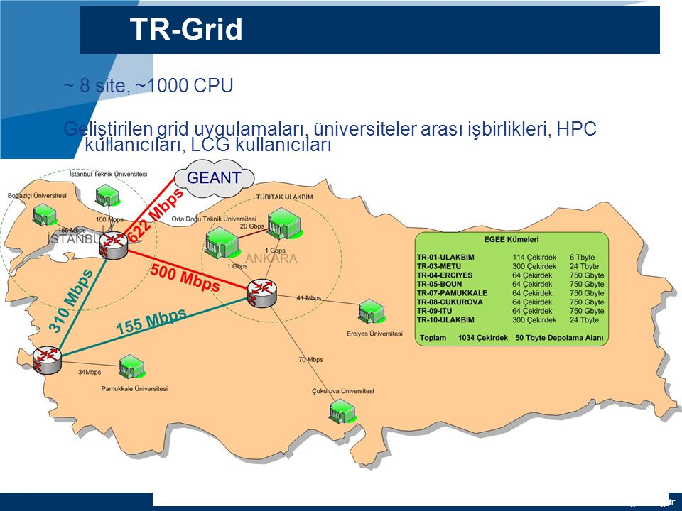 TR-Grid ~ 8 site, ~1000 CPU.