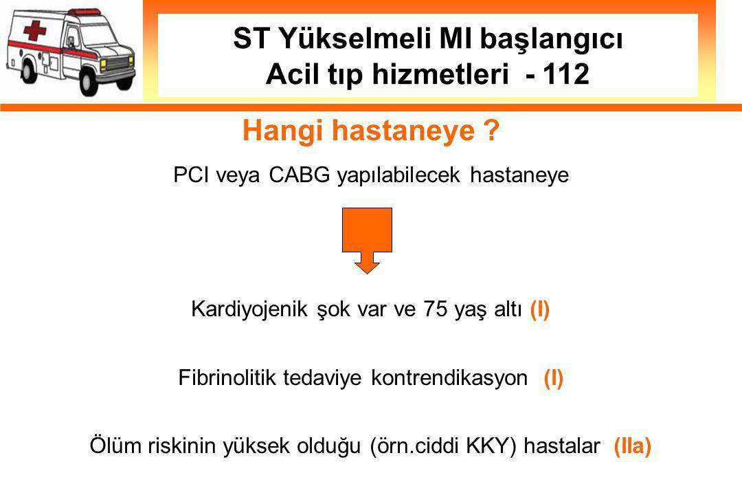 ST Yükselmeli MI başlangıcı Acil tıp hizmetleri - 112