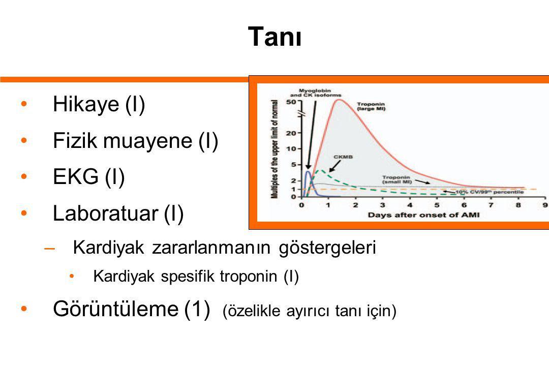 Tanı Hikaye (I) Fizik muayene (I) EKG (I) Laboratuar (I)