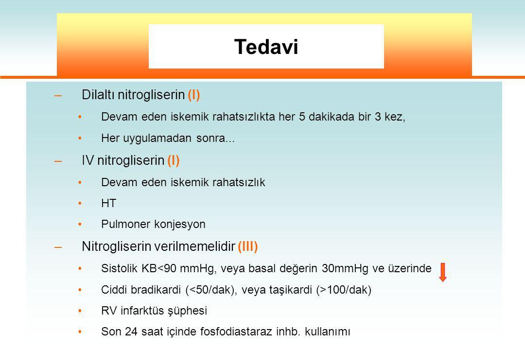 Tedavi Dilaltı nitrogliserin (I) IV nitrogliserin (I)