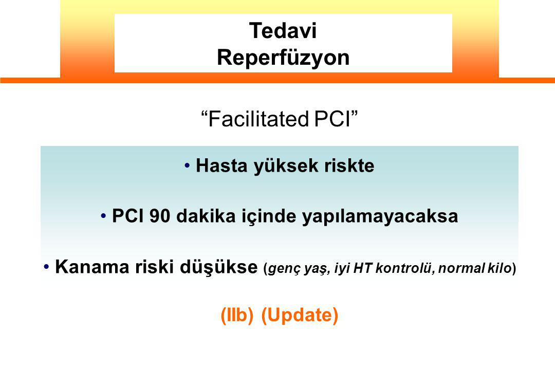 Tedavi Reperfüzyon Facilitated PCI Hasta yüksek riskte