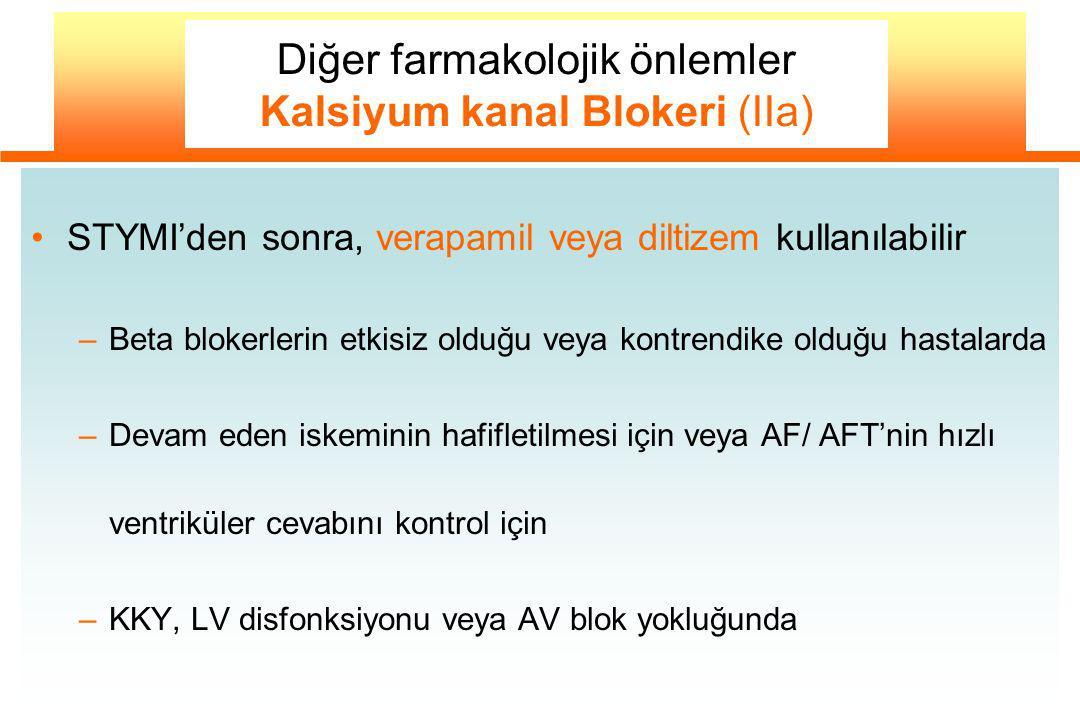 Diğer farmakolojik önlemler Kalsiyum kanal Blokeri (IIa)