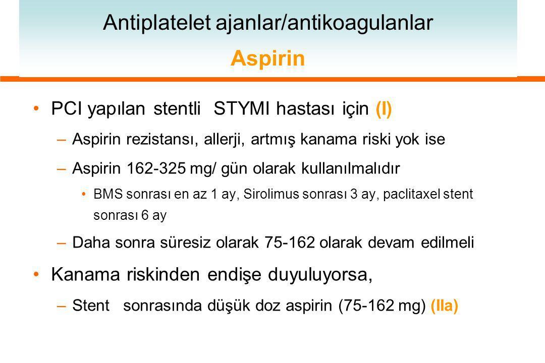 Antiplatelet ajanlar/antikoagulanlar