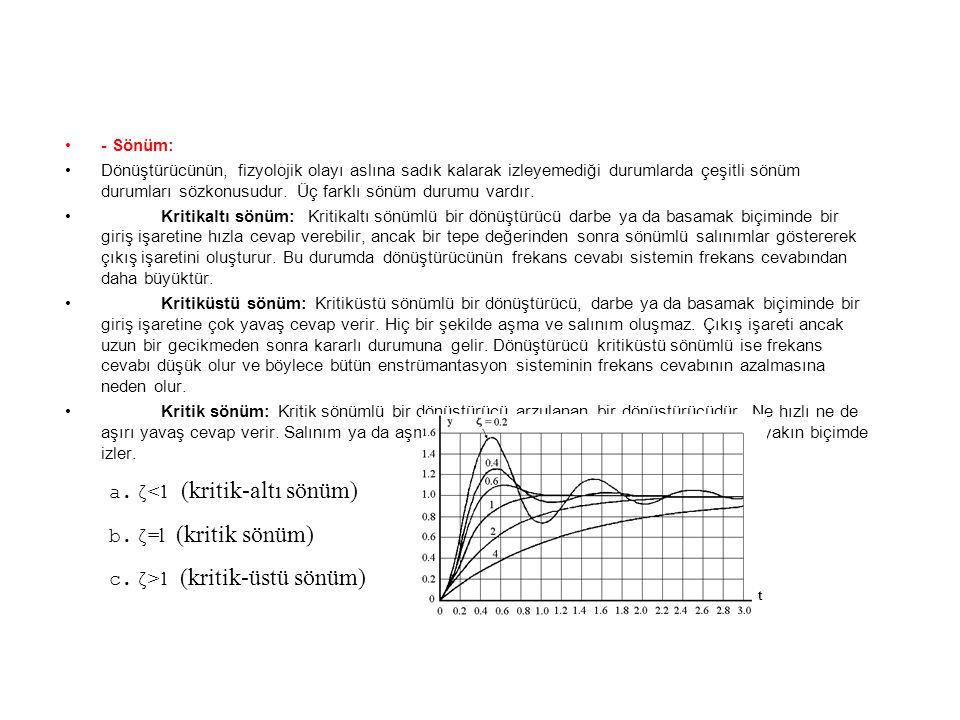 ζ<1 (kritik-altı sönüm) ζ=l (kritik sönüm)