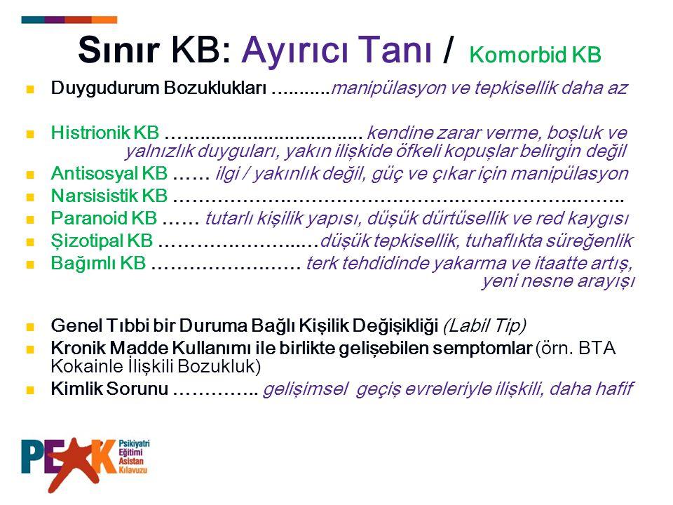 Sınır KB: Ayırıcı Tanı / Komorbid KB