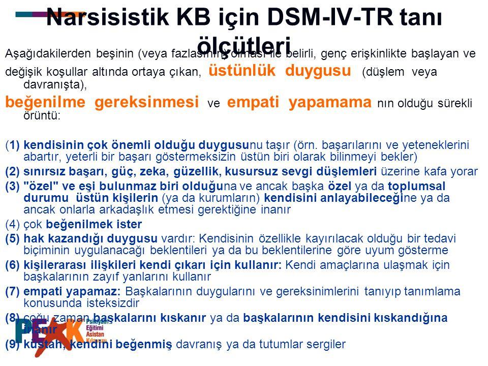 Narsisistik KB için DSM-IV-TR tanı ölçütleri