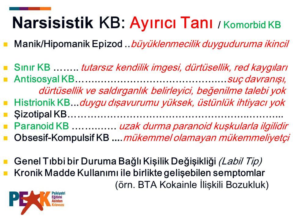 Narsisistik KB: Ayırıcı Tanı / Komorbid KB