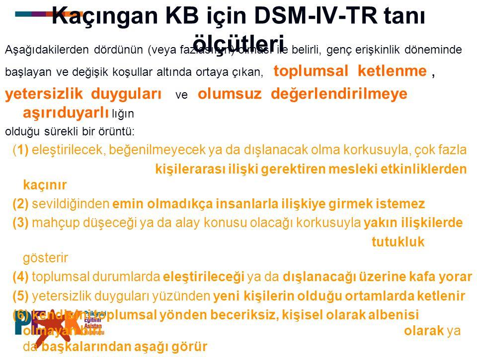 Kaçıngan KB için DSM-IV-TR tanı ölçütleri