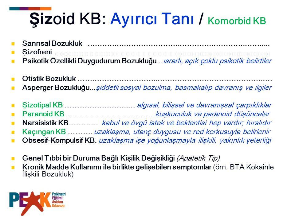 Şizoid KB: Ayırıcı Tanı / Komorbid KB