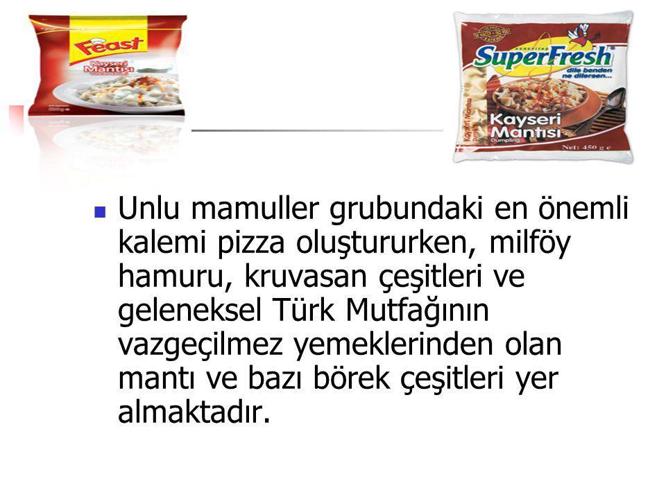 Unlu mamuller grubundaki en önemli kalemi pizza oluştururken, milföy hamuru, kruvasan çeşitleri ve geleneksel Türk Mutfağının vazgeçilmez yemeklerinden olan mantı ve bazı börek çeşitleri yer almaktadır.
