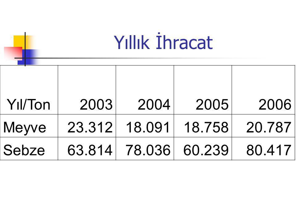 Yıllık İhracat Yıl/Ton 2003 2004 2005 2006 Meyve 23.312 18.091 18.758