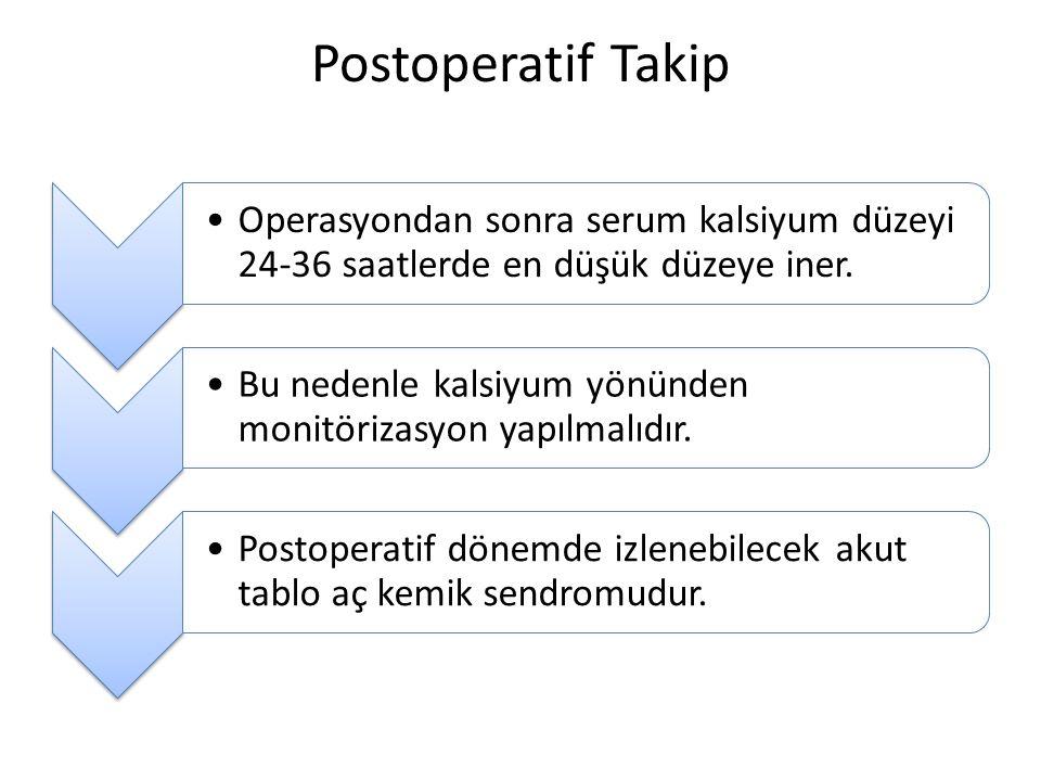 Postoperatif Takip Operasyondan sonra serum kalsiyum düzeyi 24-36 saatlerde en düşük düzeye iner.