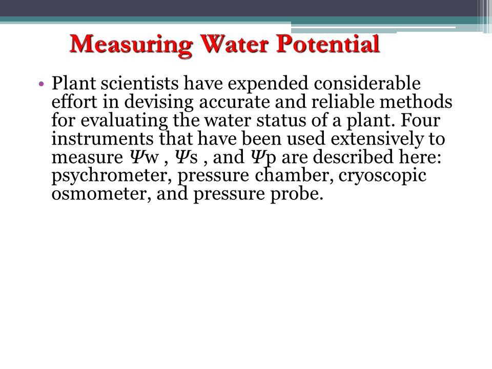 Measuring Water Potential