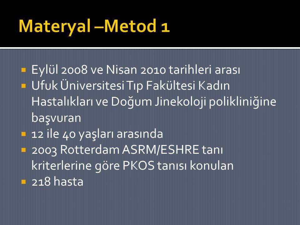 Materyal –Metod 1 Eylül 2008 ve Nisan 2010 tarihleri arası