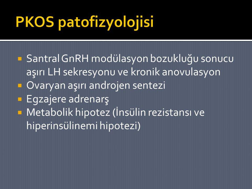 PKOS patofizyolojisi Santral GnRH modülasyon bozukluğu sonucu aşırı LH sekresyonu ve kronik anovulasyon.