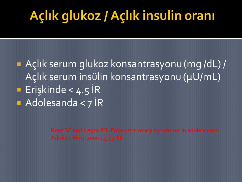 Açlık glukoz / Açlık insulin oranı