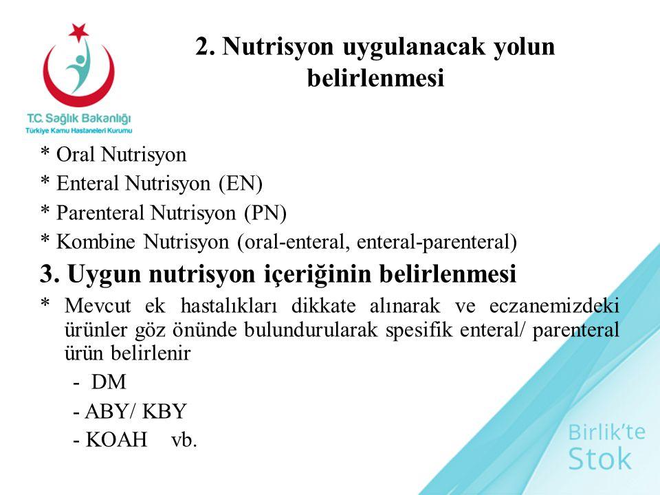 2. Nutrisyon uygulanacak yolun belirlenmesi