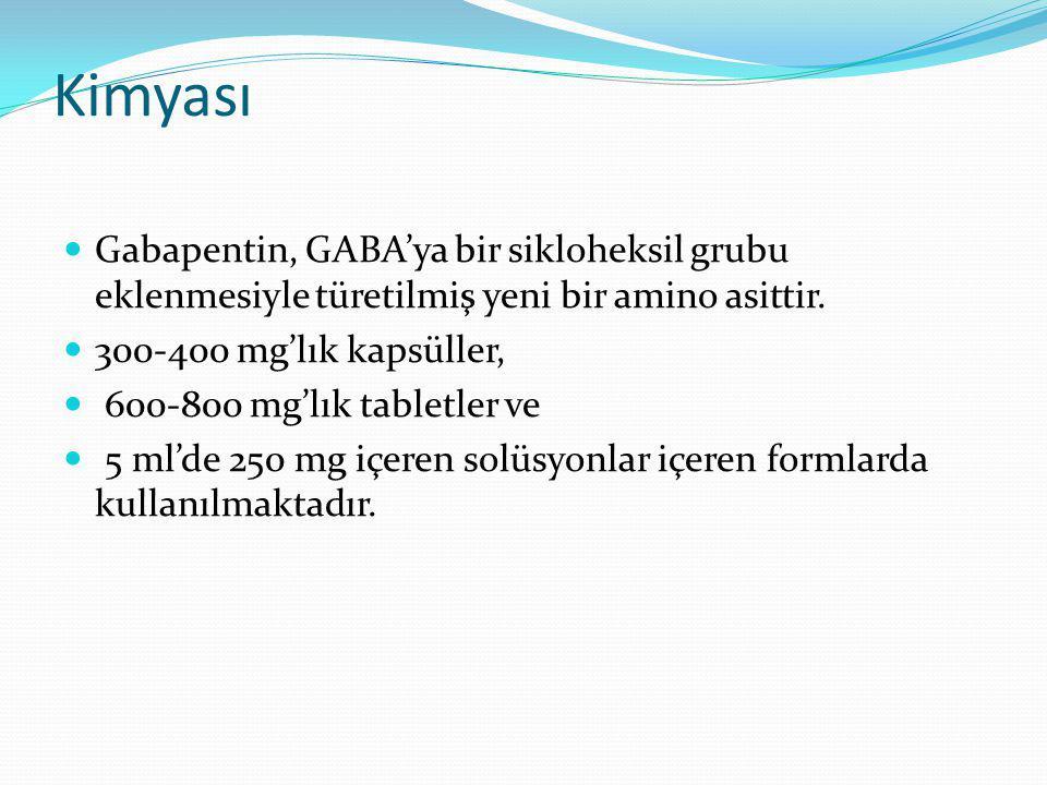 Kimyası Gabapentin, GABA'ya bir sikloheksil grubu eklenmesiyle türetilmiş yeni bir amino asittir. 300-400 mg'lık kapsüller,