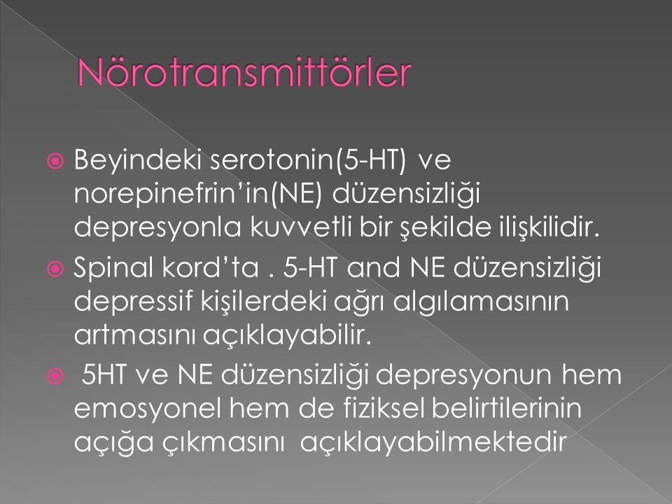 Nörotransmittörler Beyindeki serotonin(5-HT) ve norepinefrin'in(NE) düzensizliği depresyonla kuvvetli bir şekilde ilişkilidir.