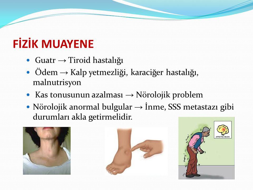 FİZİK MUAYENE Guatr → Tiroid hastalığı