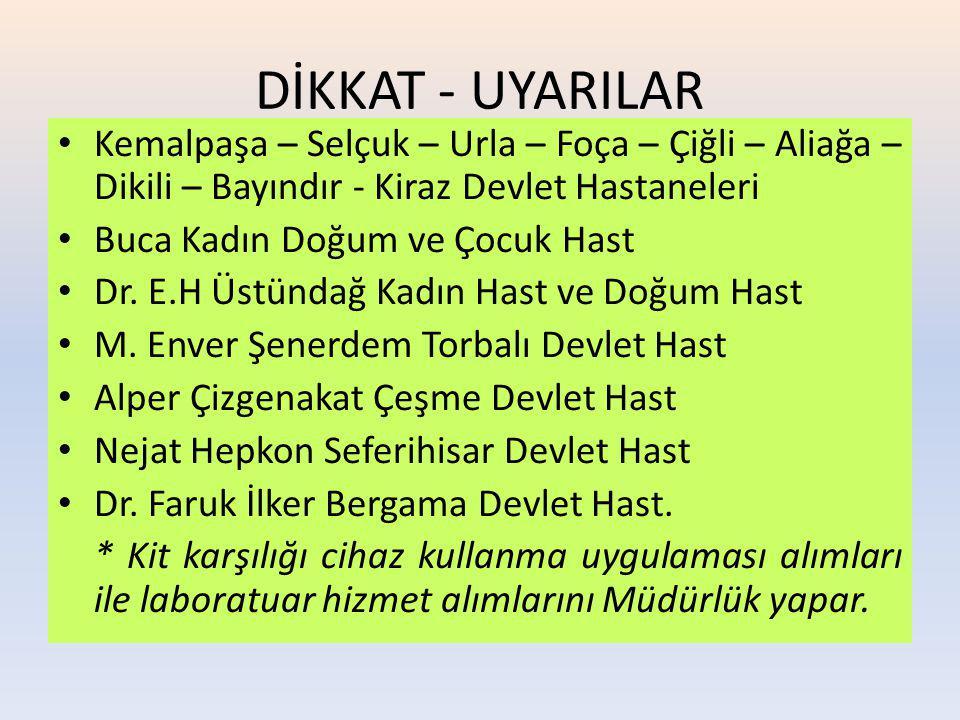 DİKKAT - UYARILAR Kemalpaşa – Selçuk – Urla – Foça – Çiğli – Aliağa – Dikili – Bayındır - Kiraz Devlet Hastaneleri.