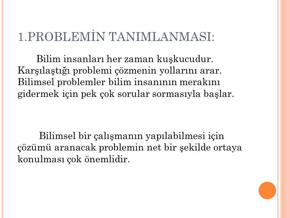 1.PROBLEMİN TANIMLANMASI: