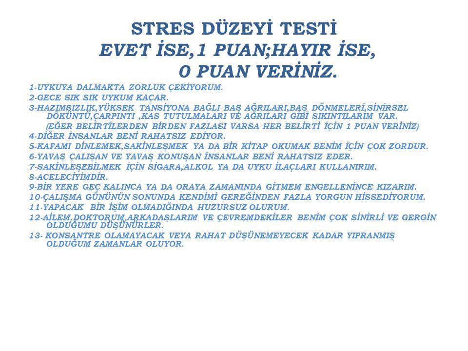 STRES DÜZEYİ TESTİ EVET İSE,1 PUAN;HAYIR İSE, 0 PUAN VERİNİZ.