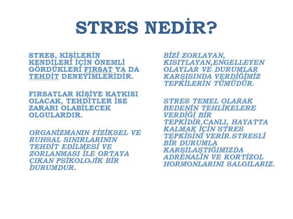 STRES NEDİR STRES, KİŞİLERİN KENDİLERİ İÇİN ÖNEMLİ GÖRDÜKLERİ FIRSAT YA DA TEHDİT DENEYİMLERİDİR.