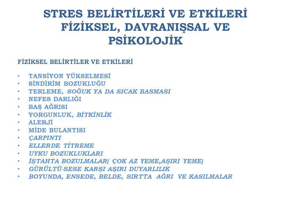 STRES BELİRTİLERİ VE ETKİLERİ FİZİKSEL, DAVRANIŞSAL VE PSİKOLOJİK