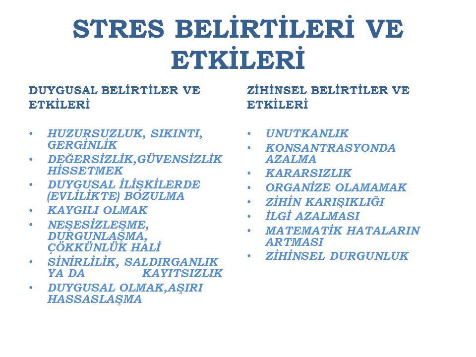 STRES BELİRTİLERİ VE ETKİLERİ