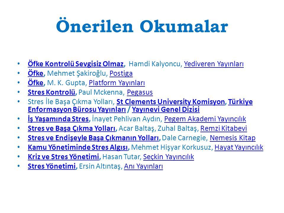 Önerilen Okumalar Öfke Kontrolü Sevgisiz Olmaz, Hamdi Kalyoncu, Yediveren Yayınları. Öfke, Mehmet Şakiroğlu, Postiga.