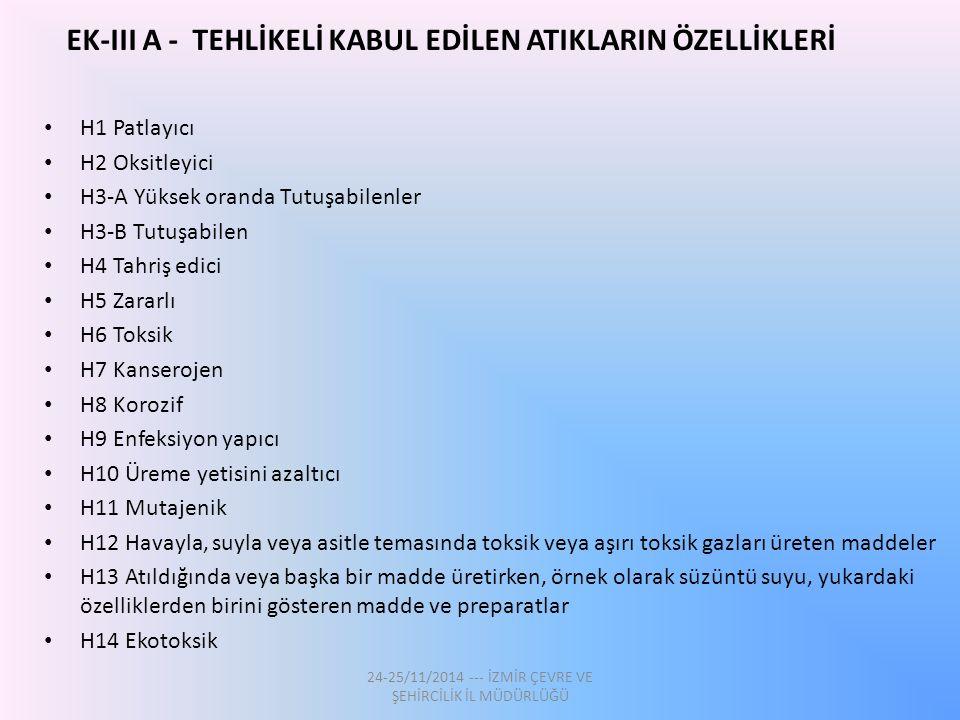 EK-III A - TEHLİKELİ KABUL EDİLEN ATIKLARIN ÖZELLİKLERİ